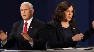 Vice President Mike Pence and Democratic vice presidential candidate Sen. Kamala Harris, D-Calif., at the   vice presidential debate Wednesday, Oct. 7, 2020 in Utah. (AP Photo / Patrick Semansky)