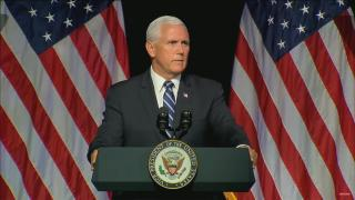 """Vice President Mike Pence: """"The space environment is fundamentally changed in the last generation."""""""