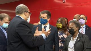 Sec. of Transportation, Pete Buttigieg, tours the 95th/Dan Ryan Red Line station with Mayor Lightfoot, CTA President Dorval Carter, Sens. Dick Durbin and Tammy Duckworth, and Democratic members of Illinois' congressional delegation to promote President Biden's infrastructure plan, July 16, 2021. (WTTW News)
