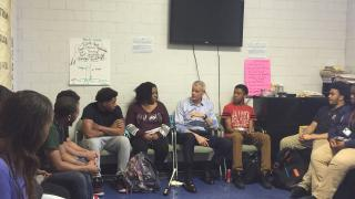 Phil Andrew and Chicago-area students discuss gun violence Wednesday, May 23, 2018. (Courtesy Phil Andrew)