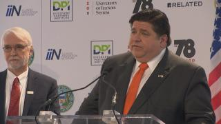Gov. J.B. Pritzker speaks about funding for the Discovery Partners Institute on Wednesday, Feb. 12, 2020. (WTTW News)