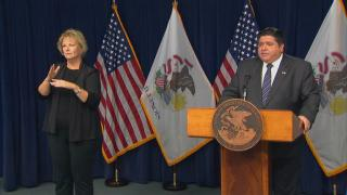 Gov. J.B. Pritzker speaks with the media on Wednesday, Oct. 14, 2020. (WTTW News)
