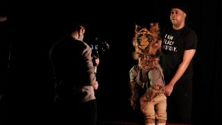 """With the help of the Chicago International Puppet Theater Festival, Jerrell L. Henderson created a one-man, one-puppet show about the consequences of """"walking while Black."""" (credit Elias Carmona)"""