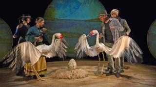 """""""Ajijaak on Turtle Island"""" brings together an ensemble of Native American performers to tell the tale of Ajijaak, a young whooping crane who must face her first migration cycle after being separated from  her family. (IBEX Puppetry Media)"""