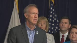 """""""I want to commend members of the General Assembly for working on a bipartisan basis. They passed, and today I will sign, House Bill 2354,"""" Gov. Bruce Rauner said Monday, July 16, 2018. (Chicago Tonight)"""