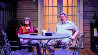 "Linda Reiter and H.B. Ward in Shattered Globe Theatre and Theater Wit's Chicago premiere of ""The Realistic Joneses."" (Photo by Evan Hanover)"