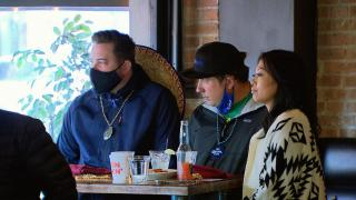 In this file photo, restaurant patrons wear masks while dining indoors. (WTTW News)