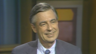 "A still image taken from a 1985 video featuring Fred Rogers in conversation with ""Chicago Tonight"" host John Callaway. (WTTW News)"