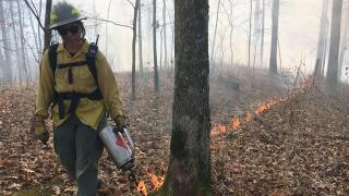 Ruth Campos works as a burn crew member and she wants more women – especially women of color to join her. (Courtesy The Nature Conservancy)
