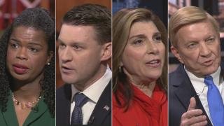 """Democratic candidates for Cook County state's attorney, from left: incumbent Kim Foxx, Bill Conway, Donna More and Bob Fioretti appear on a """"Chicago Tonight"""" candidate forum. (WTTW News)"""