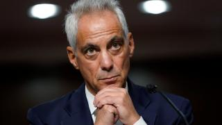 U.S. Ambassador to Japan nominee Rahm Emanuel attends a hearing to examine his nomination before the Senate Foreign Relations Committee on Capitol Hill in Washington, Wednesday, Oct. 20, 2021. (AP Photo / Patrick Semansky)