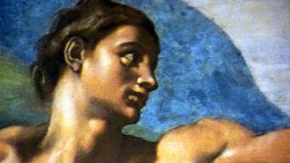 """A scene from """"Michelangelo's Sistine Chapel: The Exhibition"""" in Oak Brook. (WTTW News)"""