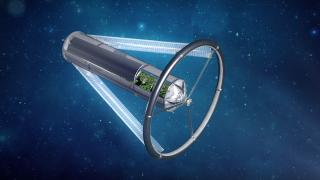 An artist's concept of an O'Neill cylinder. (Courtesy Blue Origin)