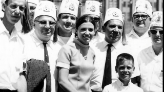 Justice Anne Burke, one of the leading forces behind the first games, stands with volunteers at the 1968 Games. (Courtesy of Special Olympics Chicago)
