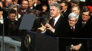 President Bill Clinton gives his inaugural address on Jan. 20, 1997. (Renee Humble / Wikimedia Commons)