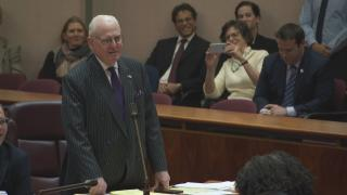Ald. Ed Burke, 14th Ward, addresses Mayor Rahm Emanuel at the mayor's final City Council meeting on Wednesday, April 10, 2019.