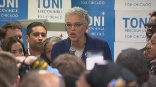 Chicago mayoral candidate Toni Preckwinkle addresses supporters from her campaign headquarters on Tuesday, Feb. 26, 2019.