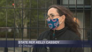 """State Rep. Kelly Cassidy appears on """"Chicago Tonight"""" on Tuesday, May 5, 2020. (WTTW News)"""