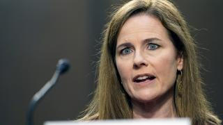 Supreme Court nominee Amy Coney Barrett speaks during a confirmation hearing before the Senate Judiciary Committee, Tuesday, Oct. 13, 2020, on Capitol Hill in Washington. (AP Photo / Susan Walsh, Pool)
