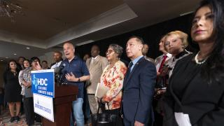 Democratic Texas State Rep. Chris Turner, left, from Grand Prairie, speaks during a news conference with other Texas Democrats, Wednesday, July 14, 2021, in Washington. (AP Photo / Manuel Balce Ceneta)
