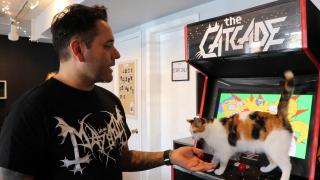 Catcade co-founder Chris Gutierrez shows off one of the rescue shelter's free arcade games. (Evan Garcia / WTTW News)
