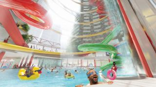 A water park is among the finalists in a competition to repurpose the Thompson Center. (Courtesy of the Chicago Architecture Center and the Chicago Architectural Club)