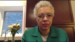 "Cook County Board President Toni Preckwinkle speaks with ""Chicago Tonight"" on Thursday from her Hyde Park home. (WTTW News)"