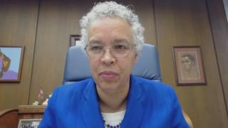 "Cook County Board President Toni Preckwinkle appears on ""Chicago Tonight"" via Zoom on Monday, Sept. 14, 2020. (WTTW News)"