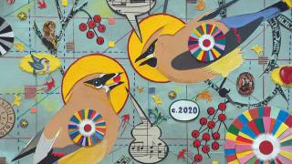 """Artist Tony Fitzpatrick's new show is called """"Jesus of Western Avenue."""" It's at the Cleve Carney Museum of Art on the campus of the College of DuPage. (WTTW News)"""