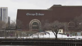 The Chicago Tribune's Freedom Center, a printing and inserting facility along the Chicago River. (WTTW News)