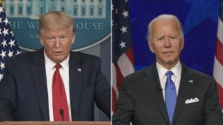 President Donald Trump, left, and former Vice President Joe Biden. (WTTW News via CNN)