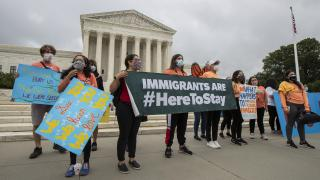 In this June 18, 2020, photo, Deferred Action for Childhood Arrivals (DACA) students celebrate in front of the Supreme Court after the Supreme Court rejected President Donald Trump's effort to end legal protections for young immigrants in Washington. (AP Photo / Manuel Balce Ceneta)