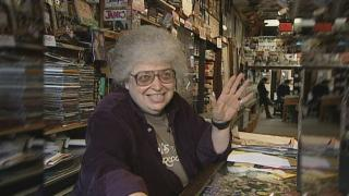 Val Camilletti at her record store, Val's halla, in 2005 (Chicago Tonight)