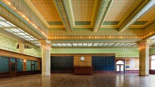 The re-created Chicago Stock Exchange Trading Room at the Art Institute of Chicago.