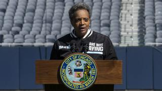 "Mayor Lori Lightfoot announces the ""We Are Not Playing"" campaign during a press conference at Soldier Field, Monday morning, April 6, 2020, in Chicago.(Ashlee Rezin Garcia / Chicago Sun-Times via AP)"