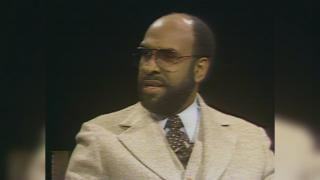 Warner Saunders in an interview with John Callaway in 1980. (WTTW photo)