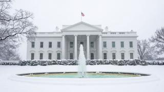 The north side of the White House is seen covered in snow Sunday, Jan. 13, 2019. (Official White House Photo by Tia Dufour / The White House / Flickr)