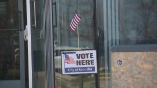 One of just 10 polling places open for voting in Kenosha, Wisconsin, on Tuesday, April 7, 2020. (WTTW News)