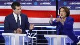Democratic presidential candidates, Sen. Amy Klobuchar, D-Minn., right, speaks as former South Bend Mayor Pete Buttigieg looks on during a Democratic presidential primary debate Wednesday, Feb. 19, 2020, in Las Vegas, hosted by NBC News and MSNBC. (AP Photo / John Locher)