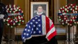 Justice Ruth Bader Ginsburg lies in state in Statuary Hall of the U.S. Capitol in Washington on Friday, Sept. 25, 2020. (Shawn Thew / Pool via AP)