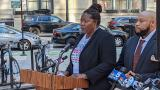 Anjanette Young and her attorney Keenan Saulter speak outside the the James R. Thompson Center on June 16, 2021. (Matt Masterson / WTTW News)