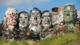Mount Recyclemore G-7 leaders: Boris Johnson of the United Kingdom, Yoshihide Suga of Japan, Emmanuel Macron of France, Mario Draghi of Italy, Justin Trudeau of Canada, Angela Merkel of Germany and Joe Biden of the U.S. (Courtesy of musicMagpie)