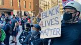 "Protesters gather in Chicago on Saturday, May 30, 2020 following the death of George Floyd at the hands of Minneapolis police. There are now several pending attempts to trademark the phrase ""Black Lives Matter."" (Hugo Balta / WTTW News)"
