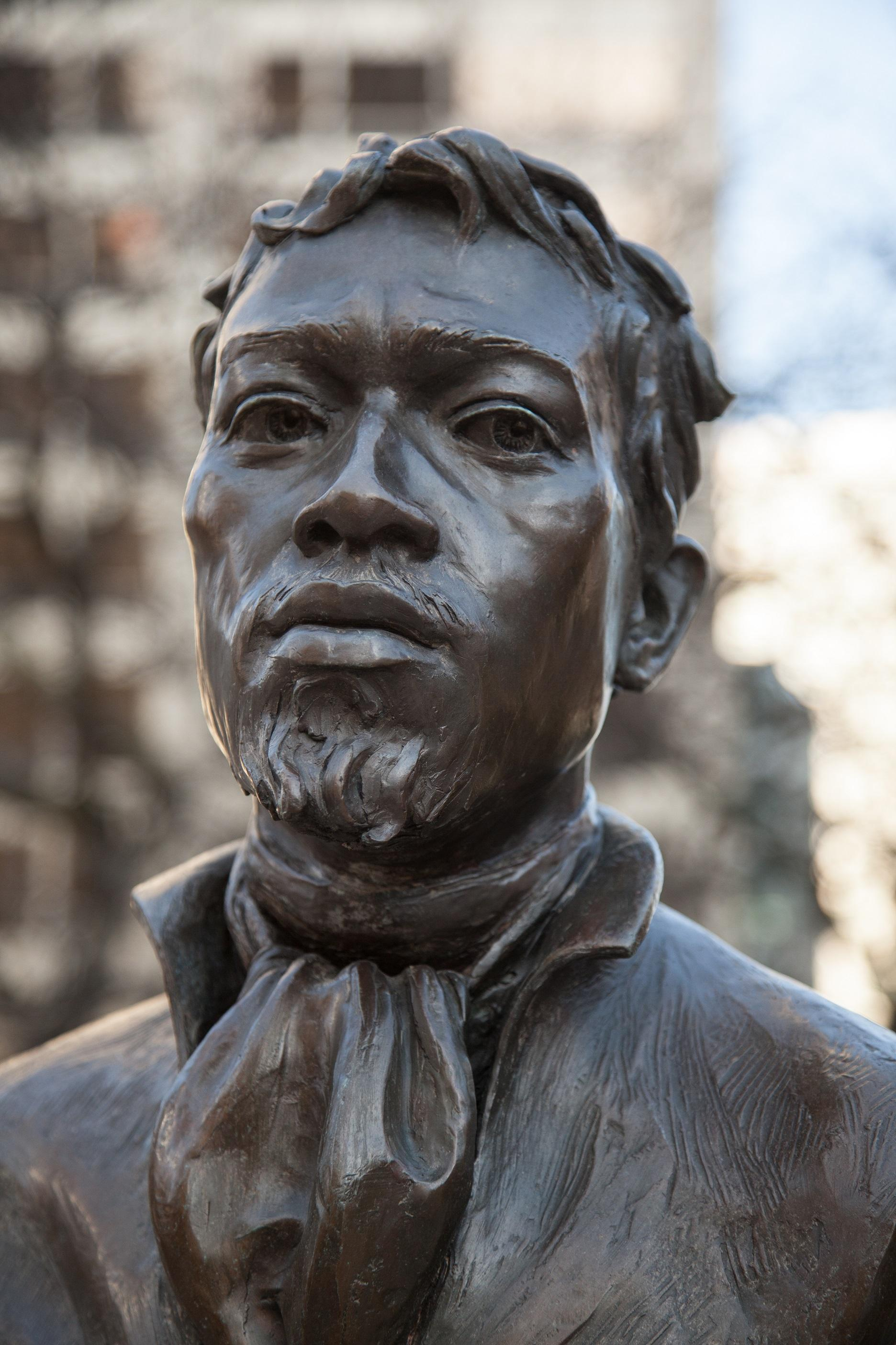 Jean Paul Baptiste DuSable statue in Pioneer Park.