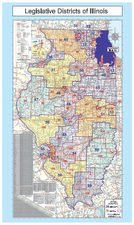 Click to enlarge: A current map of Illinois' legislative districts. (Illinois Board of Elections)