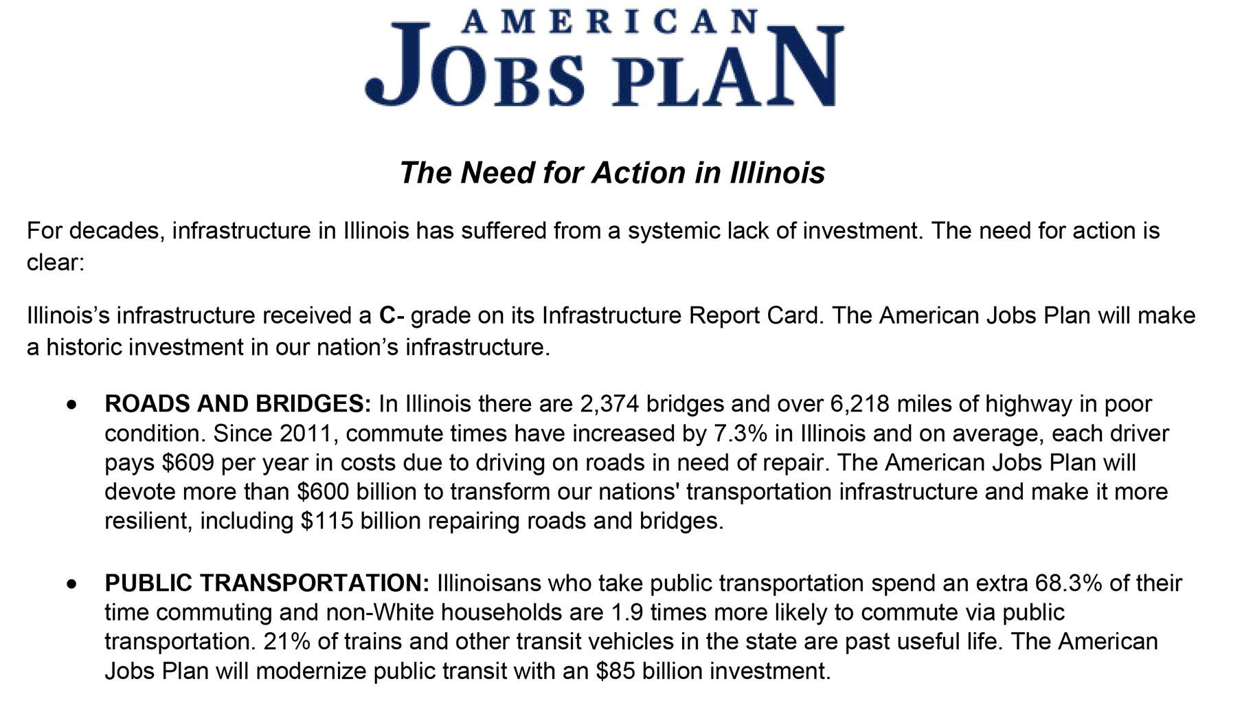 Document: White House's infrastructure report for Illinois