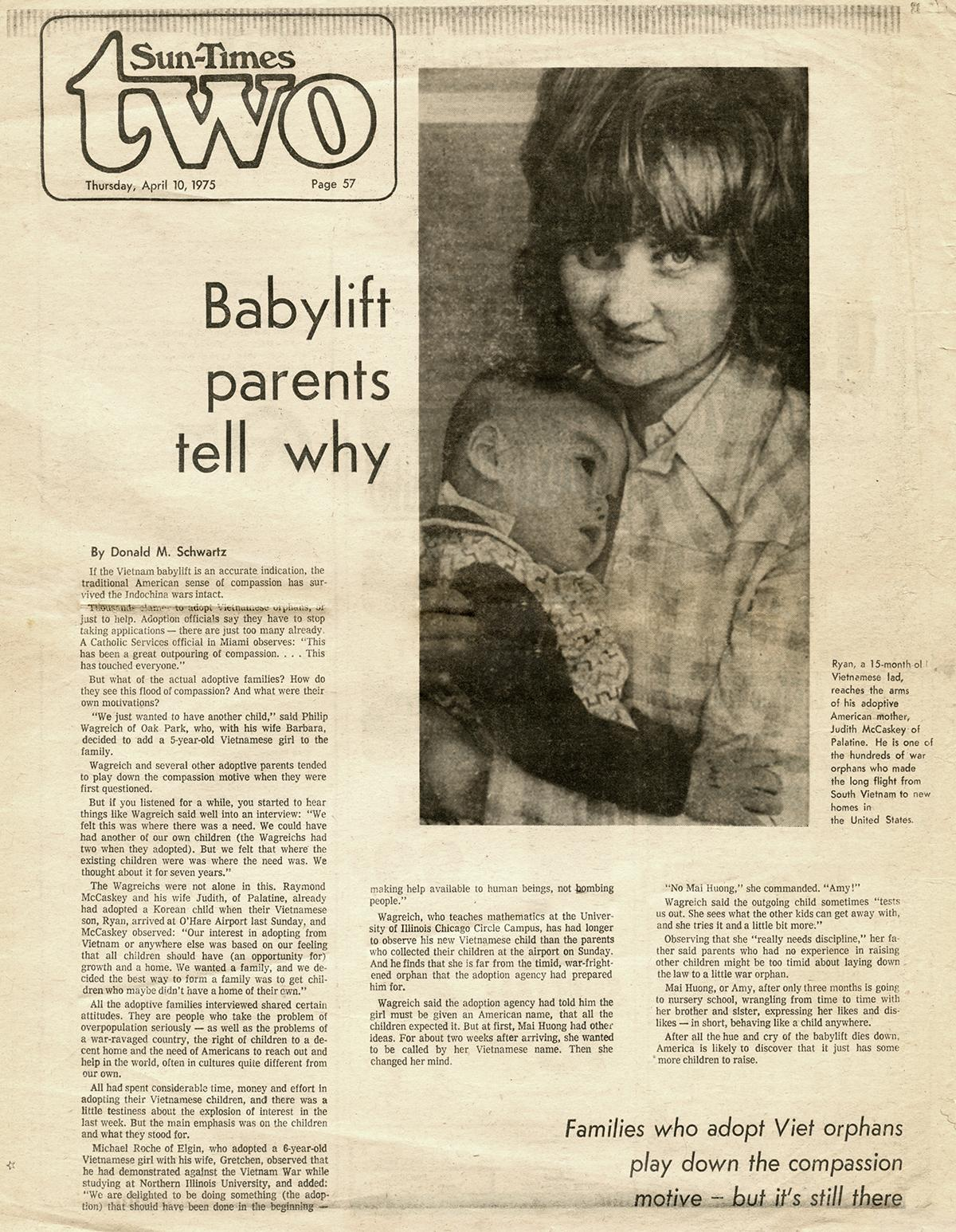 Click to read: April 10, 1975 article about McCaskey's adoption.