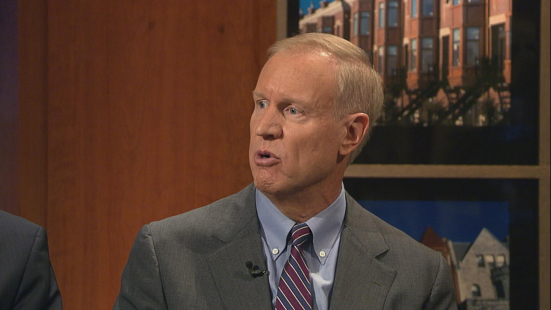 "Rauner appears on ""Chicago Tonight"" in 2012."