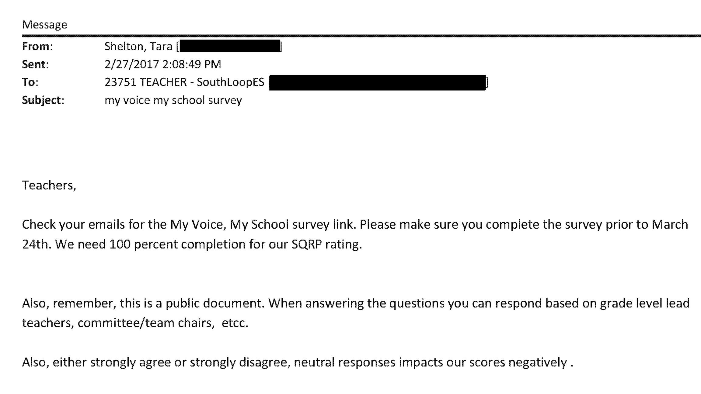 South Loop Principal Told Teachers How to Answer School