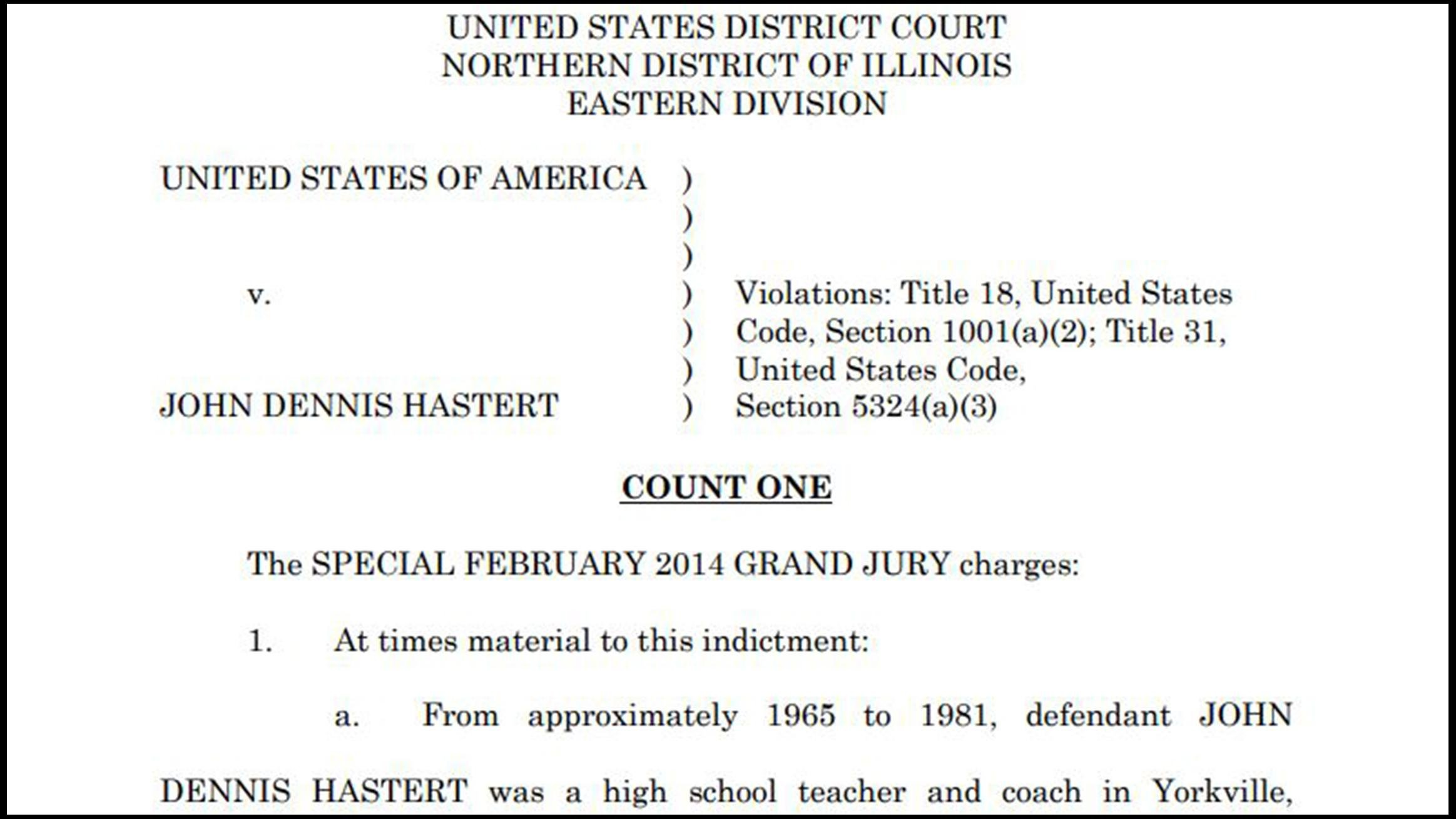 Document: Read the Hastert indictment